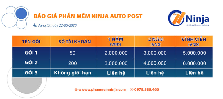 bảng giá ninja auto post