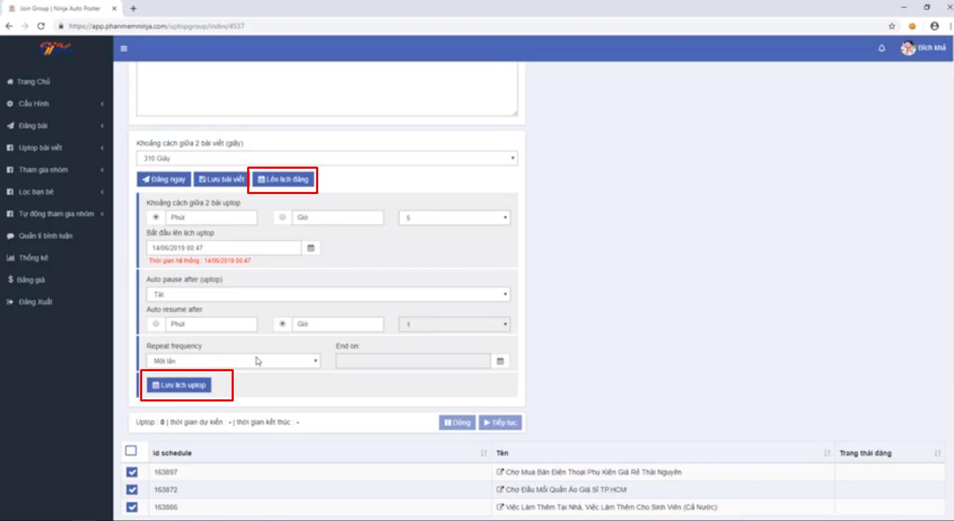 up top bai viet ninja auto post3 4 Uptop bài viết Facebook tự động bằng  Phần mềm Ninja Auto Post