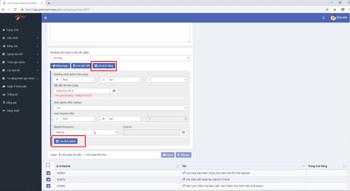 up top bai viet ninja auto post3 Uptop bài viết Facebook tự động bằng  Phần mềm Ninja Auto Post