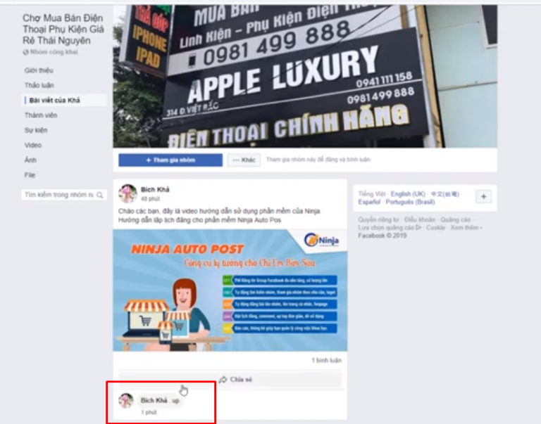 up top bai viet ninja auto post6 768x603 Uptop bài viết Facebook tự động bằng  Phần mềm Ninja Auto Post