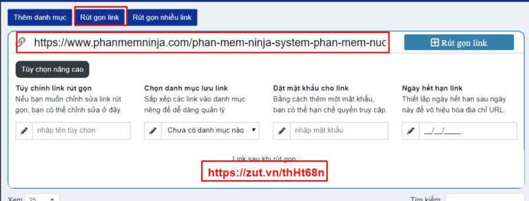 a Phần mềm Ninja ra mắt web rút gọn link mới MIỄN PHÍ Zut.VN
