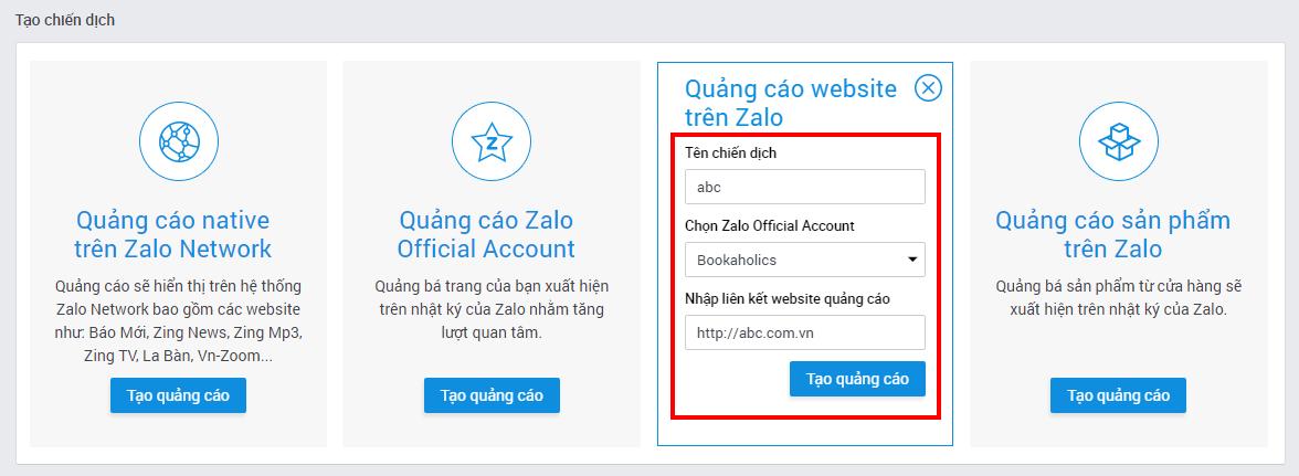 2 Hướng dẫn chạy quảng cáo website trên nền tảng Zalo
